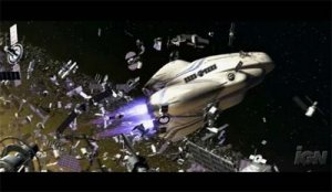 Wall-E ship through debris